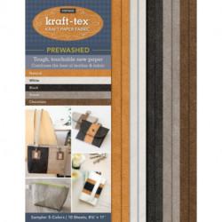 kraft-tex (R) Vintage 5 Colours Sampler Pack, Prewashed: Kraft Paper Fabric