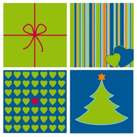 Kort juletræ blå