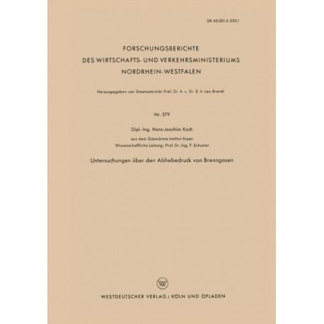 Untersuchungen UEber Den Abhebedruck Von Brenngasen