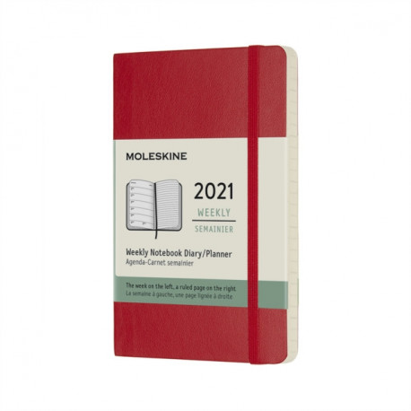 Moleskine 2021 12-Month Weekly Pocket Softcover Diary: Scarlet Red