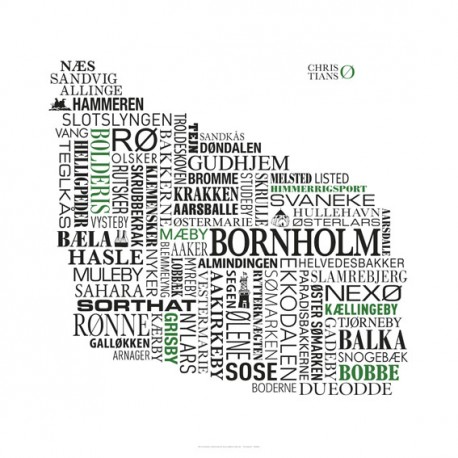 Stednavneplakat Bornholm 50x50 cm