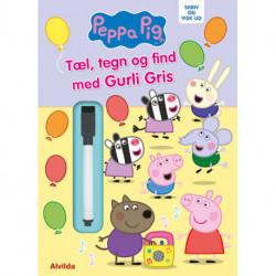 Peppa Pig - Gurli Gris - Skriv og visk ud - Tæl, tegn og find med Gurli Gris: bog med ikke-permanent pen