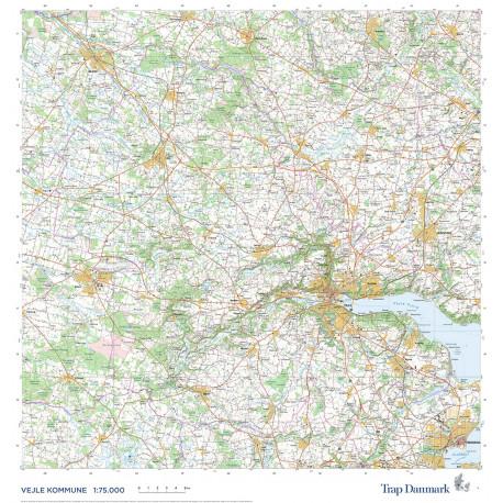 Trap Danmark: Falset kort over Vejle Kommune - Fejloprettet: Topografisk kort 1:75.000