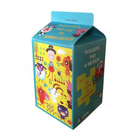 Mælkekarton-puslespil: Dyr på bondegården