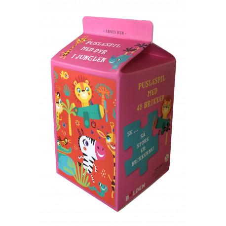 Mælkekarton-puslespil: Dyr i junglen