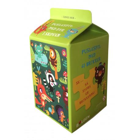 Mælkekarton-puslespil: Dyr i skoven