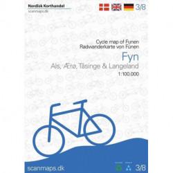 Fyn, Ærø, Tåsinge og Langeland Cykelkort