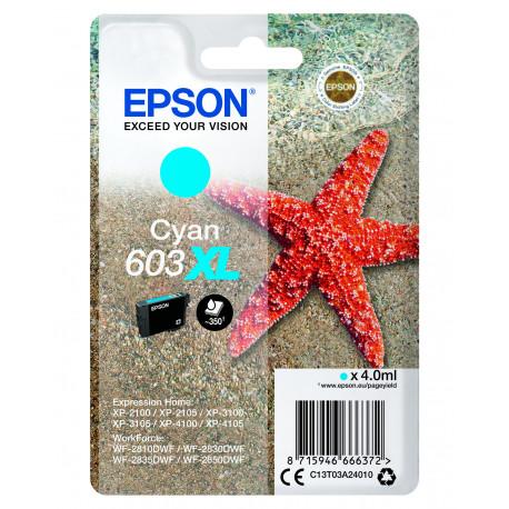 Epson T03U Cyan 603XL Ink Cartridge w/alarm (C13T03A24020)