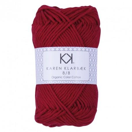 8/8 Dark Christmas Red - KK Color Cotton økologisk bomuldsgarn fra Karen Klarbæk