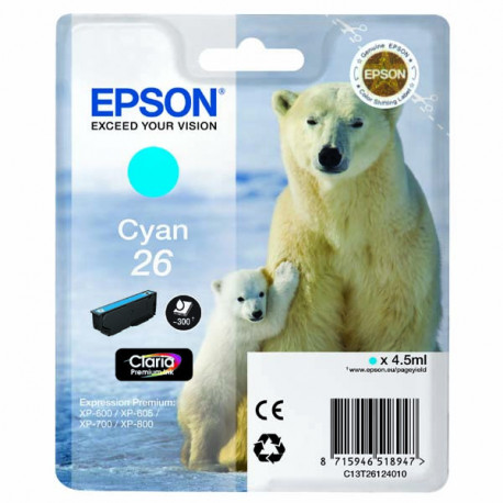 Epson T2612 Cyan Ink Cartridge w/alarm (C13T26124022)