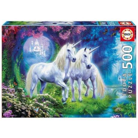 Educa Puzzle - 500 Brikker -Enhjørninge i skoven