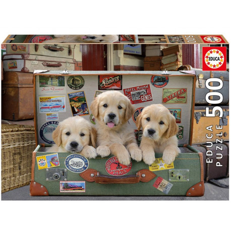 Educa Puzzle - 500 Brikker - Puppies in the luggage