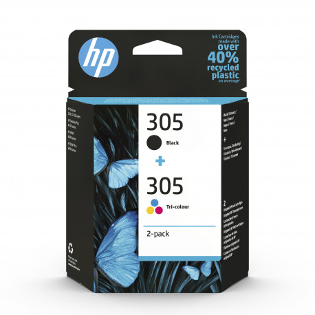 HP 305 tri color & black ink cartridge combo 2-pack (6ZD17AE)