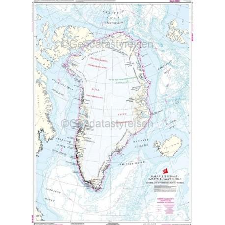Kort G, Kalaallit Nunaat: Grønland, med omgivende farvande