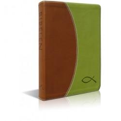 Bibelen på hverdagsdansk, brunt/grønt skind