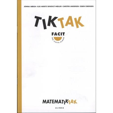 Matematik-Tak 6.kl. Tik-Tak, Facit