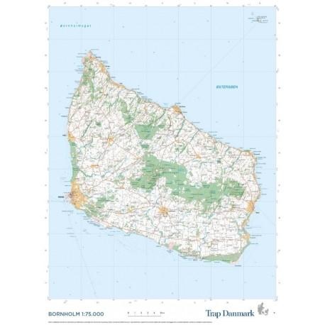 Trap Danmark: Falset kort over Bornholm: Topografisk kort 1:75.000