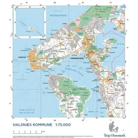 Trap Danmark: Kort over Halsnæs Kommune: Topografisk plankort 1:75.000