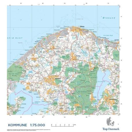 Trap Danmark Falset Kort Over Gribskov Kommune Topografisk Kort