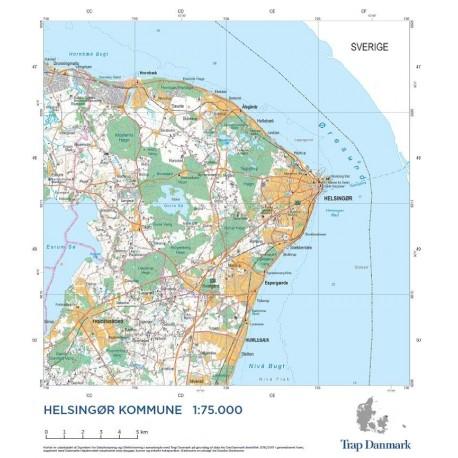 Trap Danmark Falset Kort Over Helsingor Kommune Topografisk Kort