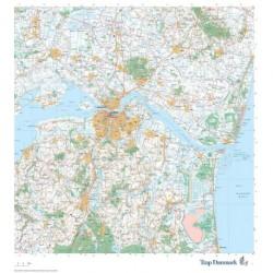 Trap Danmark: Falset kort over Aalborg Kommune i plastlomme: Falset topografisk kort 1:75.000