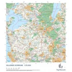 Trap Danmark: Kort over Hillerød Kommune: Topografisk kort 1:75.000