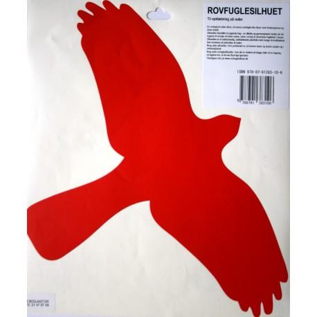 Rovfuglesilhuet (rød): Rovfuglesilhuet til opklæbning på ruder.
