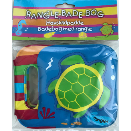 Rangle-badebog - havskildpadde: badebog med indbygget rangle