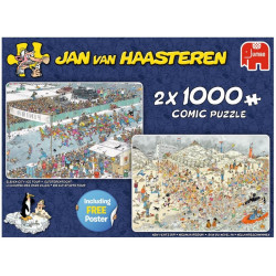 Puslespil 2 x 1000 brikker New Years Dip og Eleven City Ice Tour