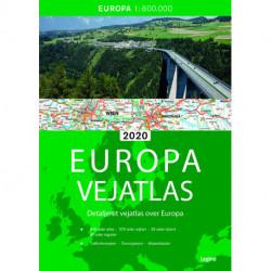 Europa Vejatlas 2020: Detaljeret vejatlas over Europa