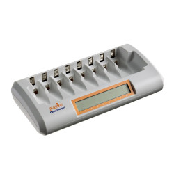 Batterioplader til 8 stk. AA eller AAA-batterier