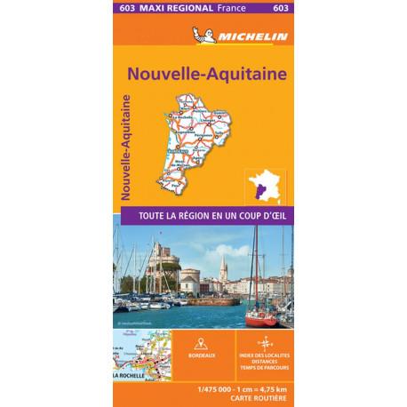 Nouvelle Aquitaine: Aquitaine, Limousin and Poitou-Charentes, Michelin Maxi Regional Map 603