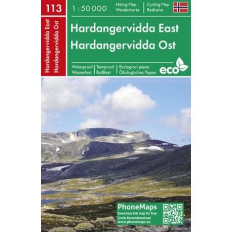 Hardangervidda East Hiking & Cycling Map