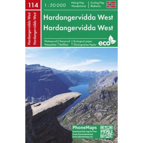Hardangervidda West Hiking & Cycling Map