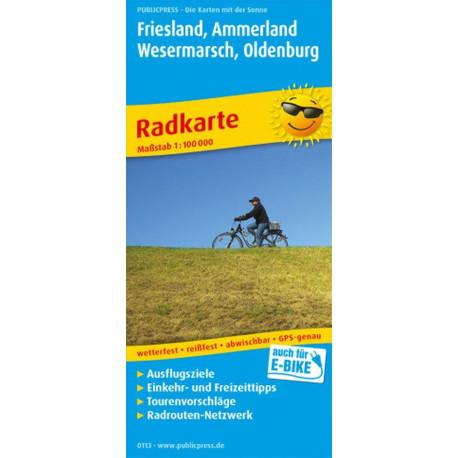 Friesland, Ammerland, Wesermarsch, Oldenburg Radkarte mit Ausflugszielen, Einkehr- & Freizeittipps
