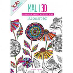 Mal i 3D - Blomster: malebog for voksne - med doodle sider