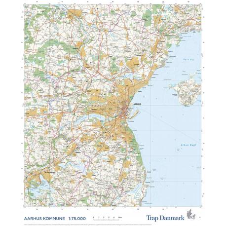 Trap Danmark: Kort over Aarhus Kommune: Topografisk kort 1:75.000