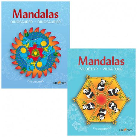 Mandalas malebøger - Vilde Dyr & Dinosaurer - 2 stk.