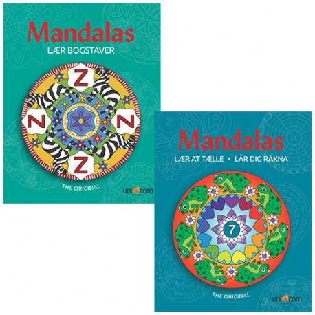 Mandalas malebøger - Lær at tælle & Lær Bogstaver - 2 stk.
