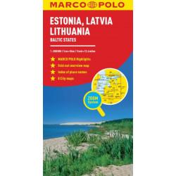 Estonia, Latvia, Lithuania Marco Polo Map: The Baltic States