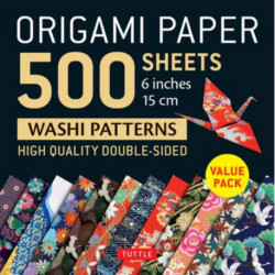 """Origami Paper 500 sheets Japanese Washi Patterns 6"""" (15 cm): High-Quality, Double-Sided Origami Sheets  with 12 Different Designs (Instructions for 6 Projects Included)"""